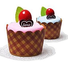 Geburtstagsgeschenk Kuchen Form Faser kreative Handtuch (zufällige Farbe)