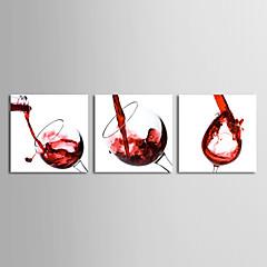 Op gespannen doek Stilleven Wijnglazen Set van 3