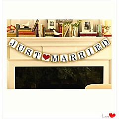 "Wedding Décor ""JUST MARRIED""  Banner Bunting--- Set of 12 Pieces"