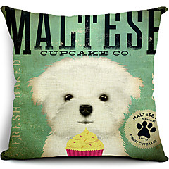 maltesiske hund bomuld / hør dekorative pudebetræk