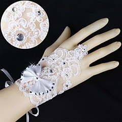 Korean Lace Wrist Length Fingerless Wedding Gloves with Bow with Rhinestone  ASG41