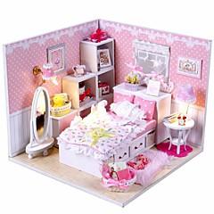 Mini-Villa Rosa LED-Licht Prinzessin Schlafzimmer Modell diy handgefertigten Holzpuppenhaus