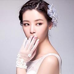 elfenben tyl håndled længde fingerspidser bryllup handsker med små blomster asg33