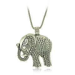 Vintage Style Tibetan Silver Elephant Pendants Necklaces