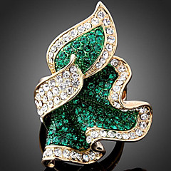 Statement Rings Rose Gold Alloy Simulated Diamond Fashion Emerald Fuchsia Light Blue Jewelry Party 1pc