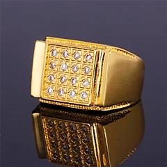 Herre Båndringe Kvadratisk Zirconium Fødselssten Statement-smykker Personaliseret luksus smykker kostume smykker Zirkonium Kvadratisk