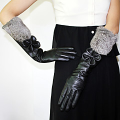 Elbow Length Fingertips Glove Leather / Feather/ Fur Party/ Evening Gloves / Winter Gloves Fall / Winter Bow