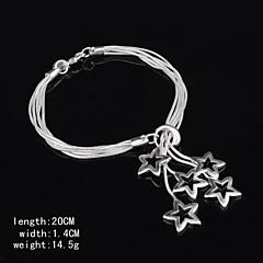 Stylish Sterling Silver Star Dangle Women's Bracelet