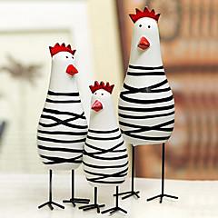 een set van 3 nieuwigheid Pasen geschilderd kip familie, hout