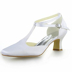 Women's Shoes Satin Summer Square Toe / T-Strap Wedding Kitten Heel BuckleBlack / Blue / Yellow / Pink / Purple / Red / Ivory / White /