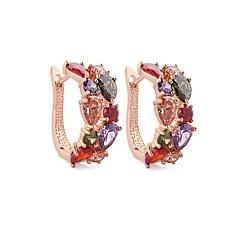 klassiske merker min mona lisa hoop øredobber flerfarget romantisk cz diamant øredobber