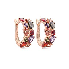 Classic Brands My Mona Lisa Hoop Earrings Multicolor Romantic CZ Diamond Earrings