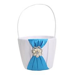 elegante Hochzeitsblumenkorb mit blauem Satin& Perlen Blumenmädchen Korb