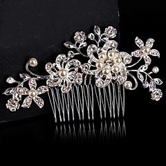 Vrouwen Bloemenmeisje Sterling zilver Licht Metaal Helm-Bruiloft Speciale gelegenheden Haarkammen Bloemen