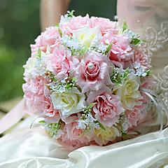 romantikus esküvői csokor esküvői menyasszony gazdaság virágok, selyem colth szimuláció rózsaszín rózsa