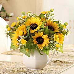 6 Köpfe ländlichen Stil Seidentuch Simulation sonnenblumen