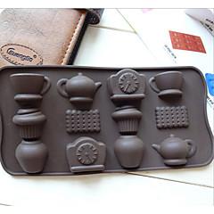 mode 12 holes theekop klok theepot diy siliconen cakevorm ijs chocolade decoreren schimmel keuken koken gereedschap