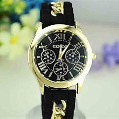 European Style Newest Silicone Chain Roman Numeral Three Eye Watches