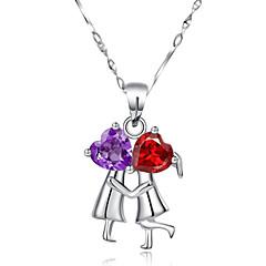 Collar (Plata esterlina , Blanco) - Violeta/Granate