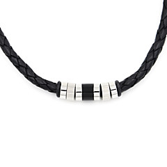 Fashion Men's 316L Stainless Steel Leather Cord Necklace Christmas Gifts