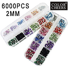 2x3000pcs 2mm ronde 12-in-1 acryl strass nail art decoratie