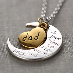 Fashion Word Dad I Love You To The Moon and Back Personalized Gift Moon Heart Necklace
