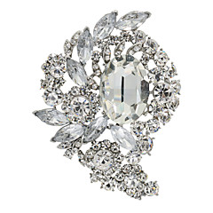 Clear Rhinestone Drop Flower Brooch Broach Pins Women's Jewelry