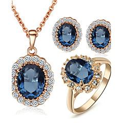 ジュエリーセット クリスタル クリスタル キュービックジルコニア 模造ダイヤモンド 合金 ブルー ネックレス イヤリング・ピアス リング のために 結婚式 パーティー 日常 カジュアル 1セット ウェディングギフト