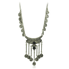 Bohemian Jewelry Vintage Coin Long Pendant Necklace Antique Silver Chain Gypsy  women Jewelry