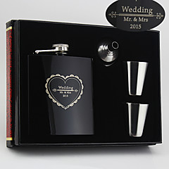 Personalized Gift 4 Pieces  Stainless Steel 6-oz Flask Gift Set  LOVE