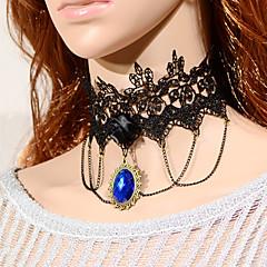 Vintage Black Flower Bule Gem Necklace