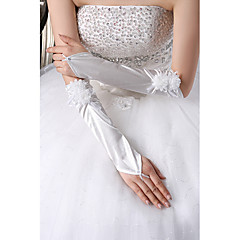 Elbow Length Fingerless Glove Satin Tulle Bridal Gloves Party/ Evening Gloves Flower Girl Gloves Spring Summer Fall Floral Pleated