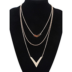 Women's Europe And The United States Three Layers of V Alloy Necklace Sweater Chain