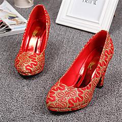 Women's Shoes Tulle Chunky Heel Heels/Round Toe Pumps/Heels Wedding Red/Gold