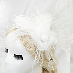 Women's / Flower Girl's Feather / Chiffon Headpiece-Wedding / Special Occasion Fascinators 1 Piece