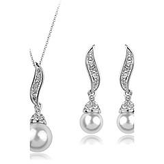 Women European Style Fashion Elegant Angel Wings Cubic Zirconia Imitation Pearl Necklace Earrings Sets