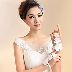 Lace Wrist Length Fingerless Wedding Gloves with Handmade Flowers with Rhinestones