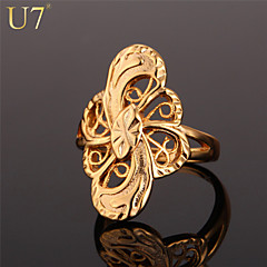 U7® Women's Exquisite Hollow Ring 18K Stamp Real Gold Plated Big Vintage Jewelry Size 6-10 Statement Ring
