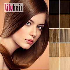 """15""""-22"""" 7pcs Clip-in Real Indian Remy Human Hair Extensions Black Brown Blonde Any Color"""