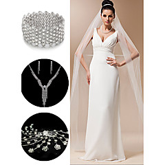 Wedding Accessories Set(Veil & Headdress & Necklace & Earrings & Bracelet)