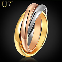 U7® Women's Layered Rings 2015 New Jewelry Stainless Steel/Rose Gold/18K Real Gold Plated Multi-tone Stacked Band Rings