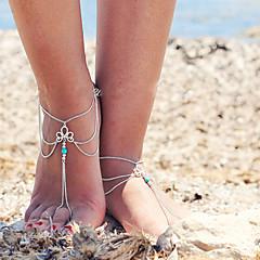 των γυναικών ρετρό φούντες πολυστρωματικές ενιαία αλυσίδα anklet