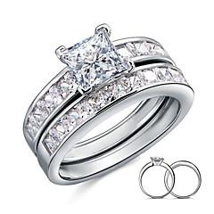 Δαχτυλίδια Ζευγαριού Ασήμι Στερλίνας Cubic Zirconia Φτερό Square Shape Κομψή Κοσμήματα Γάμου Πάρτι Καθημερινά Causal 2pcs