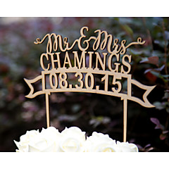 Personalized Linden Wood Wedding Cake Topper with Couples Last Name and Wedding Date