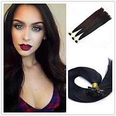 """18 """"-28"""" indian jungfru människohår platt spets hårförlängning rakt 1g / sträng 50g / pack pre bundna hårförlängning"""