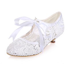 Women's Shoes Lace Spring / Summer / Fall Round Toe Wedding / Party & Evening Low Heel Black / Pink / Ivory / White