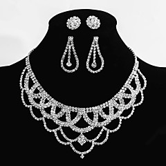 Wedding Jewelry Set 2 Pairs of Earrings 1 Crystal Necklace Sparkle Party Bridal Bridesmaid Earring