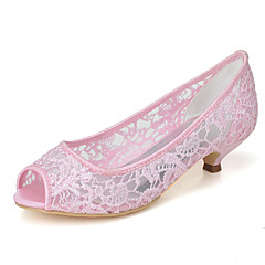 Women's Spring / Summer / Fall Peep Toe Lace Wedding / Party & Evening Low Heel Black / Pink / Ivory / White