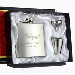 Gift Groomsman Personalized 4 Pieces Silver Stainless Steel 6-oz Flask Gift Set