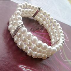 Zilver / Imitatieparel Dames Cuff armband / Streng Armbanden Imitatie Parel / Bergkristal